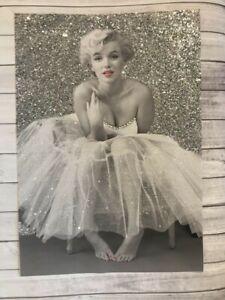 Fashion art glitter  diamond dust Marilyn Monroe ballerina glitter print