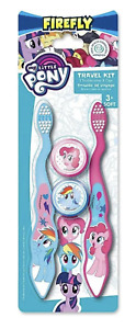 MY LITTLE PONY FIREFLY KIDS SOFT TOOTHBRUSH TRAVEL KIT 2 PACK WITH CAPS