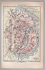 Danzig, Gdansk, Polen - Alte Karte, Stadtplan - Lithographie 1901