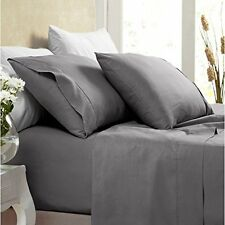 1000 Thread Count Silky BAMBOO COTTON Hybrid Blend Sheet Set SPLIT KING CHARCOAL