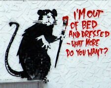 BANKSY ART A3 POSTER PRINT (OUT OF BED) - BUY 2 GET 1 FREE!!
