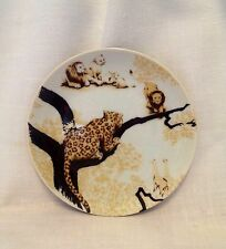 Toscany Ranier Hand Painted Plate Leopard Lion Tiger Collectible Porcelain China