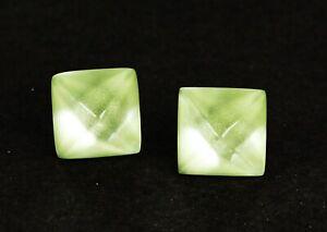 ALEXIS BITTAR Black Rhodium Plated Glossy Light Green Pyramid Stud Earrings