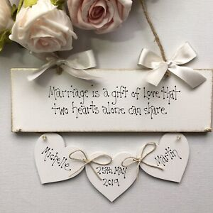 Bride And Groom Marriage Is A Gift Of Love Personalised Wedding Present Plaque
