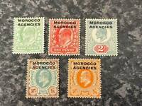 MOROCCO AGENCIES POSTAGE & REVENUE STAMPS 1907-13 SG31-35 LIGHTLY-MOUNTED MINT
