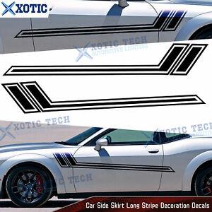 67 Inch Side Skirt Door Black Hockey Style Decal Stripes Vinyl Sticker For Dodge