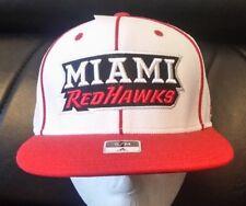66b912a4e32 Miami University Redhawks Adidas White Flexfit Flat Bill Hat Cap (S M) FREE