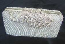 Silver Peacock Diamante Diamond Crystal Evening bag Clutch Purse Party Wedding