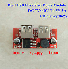 DC-DC Buck Converter Voltage Step Down Dual USB Charger Module 7V~40V to 5V 2A