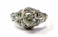 Platinum Old European Cut Diamond Solitaire Ring .58CT