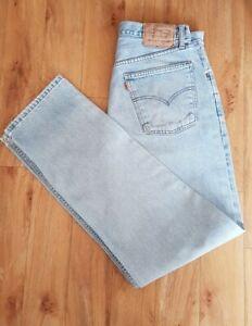 Men's Jeans, Levi Strauss 501s, W34 L34, Orange Tab, Button Fly, Light Blue