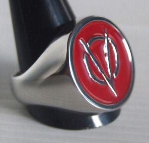 Stainless V for Vendetta Biker Ring Red Enamel Custom Size Anarchist R-120ss