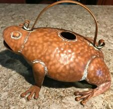 Whimsical, Unique Frog Watering Can - Metal -New - Copper Color - Distressed