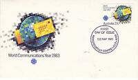 AUSTRALIA 18 MAY 1983 WORLD COMMUNICATIONS YEAR OFFICIAL FIRST DAY COVER SHS