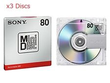 New! 3 Sony MD80 Blank Mini Disc 80 Minutes Recordable MD Japan Genuine ●F ship