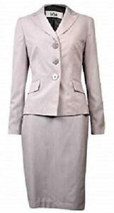 LE SUIT Women's $220 NAVY BLUE PINK Striped 2PC SKIRTSUIT SZ 16 Lined NWT