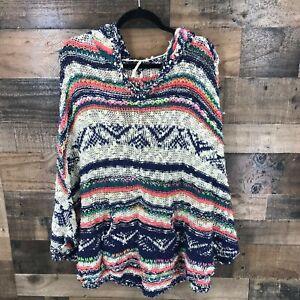 Free People Women's Oversized Multicolor Stripe Open Knit Hooded poncho Sweater