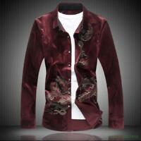 Chinese Dragon Mens Vintage Long Sleeve Floral Print Velvet T Shirt Shirt Vogue
