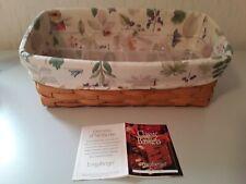 1999 Longaberger Vanity Basket, 2 Protectors, Botanical Field Liner