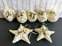 7 Vtg Stiffened Crochet Balls Stars Heart Christmas Tree Ornament Handmade