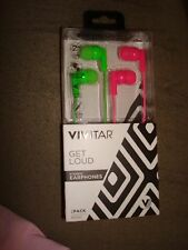 Vivitar Get Loud Stereo Earphones 2 Pack Pink And Green
