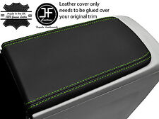 GREEN STITCH ARMREST LID REAL LEATHER COVER FITS TOYOTA PRIUS PLUS 2012-2016
