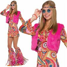 Ladies Hippie 60s 70s Flower Fancy Dress Outfit Hippy Fur Rever Groovy Costume