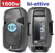 """COPPIA CASSE AMPLIFICATE ATTIVE 1600W 15"""" (38) """"profession plastic"""" 2 VIE IN ABS"""