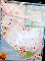 4 pc Baby Infant Gift Set Pooh 2 Bodysuits Bib Photo Frame Baby Shower Gift Pink