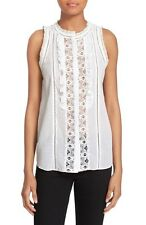 Rebecca Taylor White Lace & Cotton Voile Sleeveless Top - 6 NWT $295