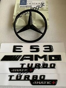Gloss Black Rear Star & Badge Emblems for Mercedes E53 AMG W238 2017+ Coupe ONLY