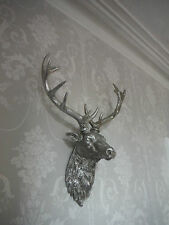 LARGE Silver Stags Head Deer Head Wall Mounted STUNNING!! Free Postage