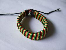 1 x Rasta Black Red Cotton Cord Wrapped Leather Bracelet Surfer Adjustable New