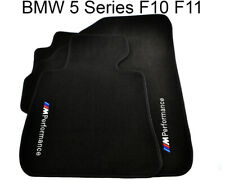 BMW 5 Series F11 Black Floor Mats With ///M Performance Emblem With Clips NEW