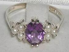 Anniversary Solitaire with Accents Amethyst Fine Rings