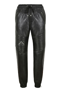 Men's Real Leather Trousers Quilted Track Black Napa Pants Jogging Bottoms 4050