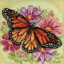 BEAUTIFUL COLORFUL BEADED WINGED MONARCH to CROSS STITCH by MILL HILL
