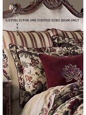 Nip J. Queen Catherine Striped Euro European Pillow Sham Burgundy Red & Gold