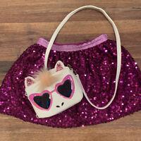 Girls Sz S Sequin Sparkle Purple Elastic Waist Skirt And Unicorn Purse Crossbody