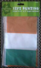 """St Patricks Day Ireland Irish Flag 12ft Bunting (3.6m) 8x 6""""x9"""""""