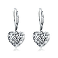 VENSERI Women 925 Sterling Silver Hollow Heart Dangle Hook Earrings