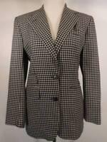 Beautiful Women's Size 4 Ralph Lauren Black White Plaid LS Lined Blazer Jacket