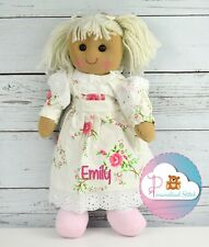More details for personalised rag doll rose baby embroidered birthday girl gift christening
