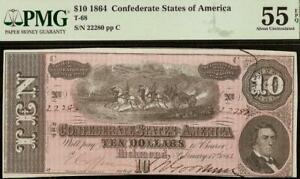 1864 $10 DOLLAR CONFEDERATE STATES CURRENCY CIVIL WAR NOTE MONEY T-68 PMG 55 EPQ