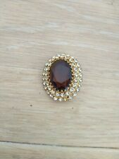 With Brown large Stone and diamante Oval Costume Jewellery Brooch Gold Coloured
