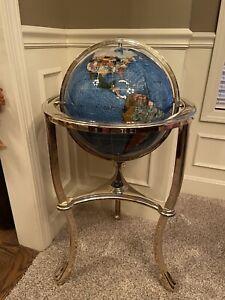 "Vintage Alexander Kalifano Brass, Opelite, Mother of Pearl Floor 34"" World Globe"