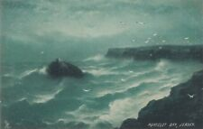 TUCK: EMERALD ROUGH SEAS -Portelet Bay ,Jersey  G.E.NEWTON-SERIES 6358
