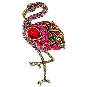 SIGNED Heidi Daus Tickled Pink Flamingo Pin SWAROVSKI CRYSTALS GR8 GIFT 4 U!!!