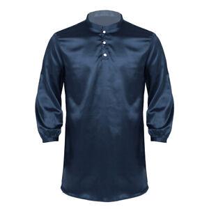 Mens Satin Silk Pajamas Nightwear Long Sleeve Nightshirt Pullover Sleepwear Tees