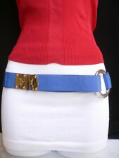 WOMEN HIP ELASTIC BLUE FASHION FAUX LEATHER BELT SILVER METAL ROUND BUCKLES S M